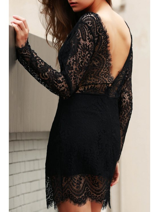 trendy Slash Neck Openwork Lace Hook Sheath Dress - BLACK M