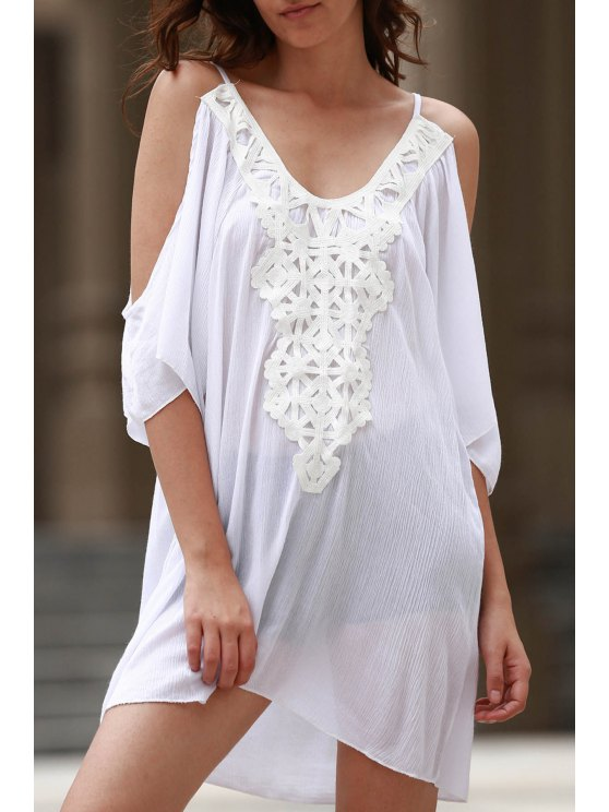 buy Cold Shoulder Lacework Splicing 3/4 Sleeve Dress - WHITE XL