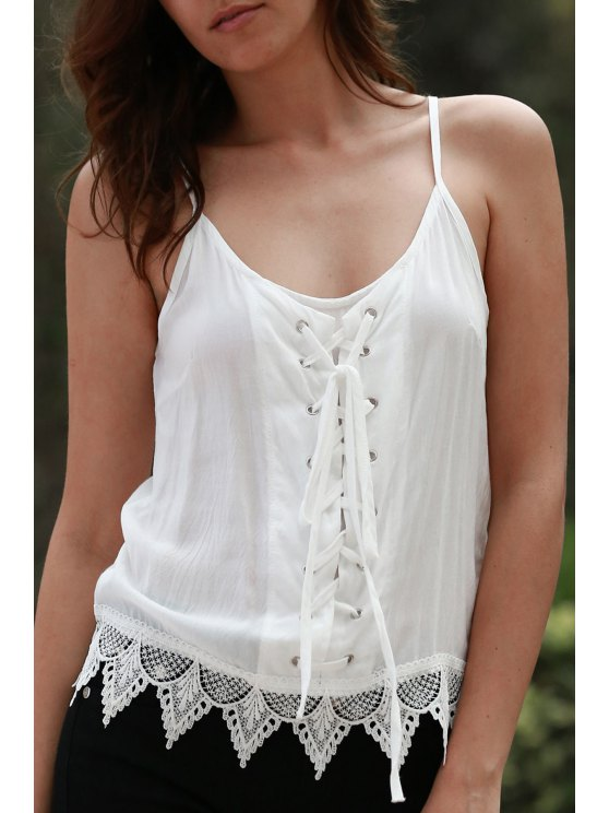 latest Lace Up Cami Tank Top - WHITE XL