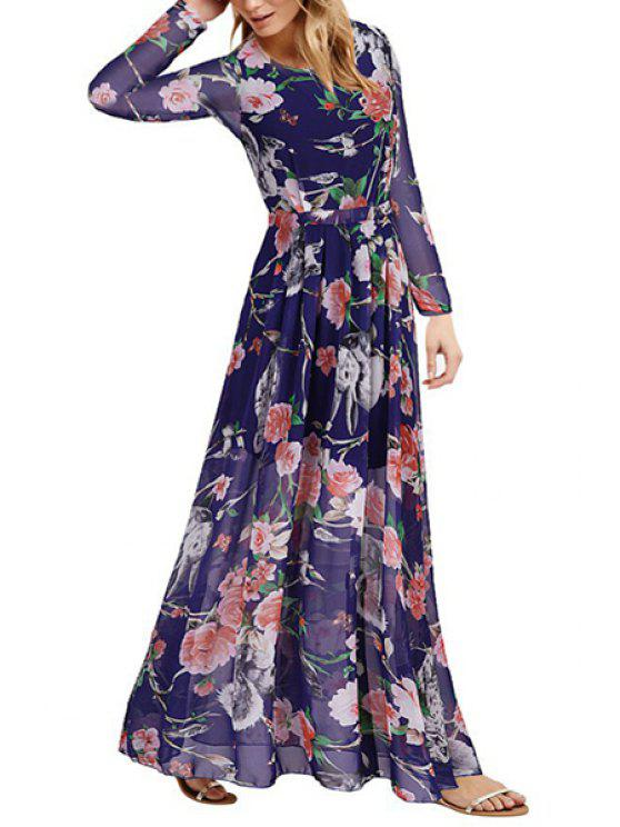 22396988e5b 28% OFF] 2019 Floral Print Round Collar Long Sleeve Maxi Dress In ...