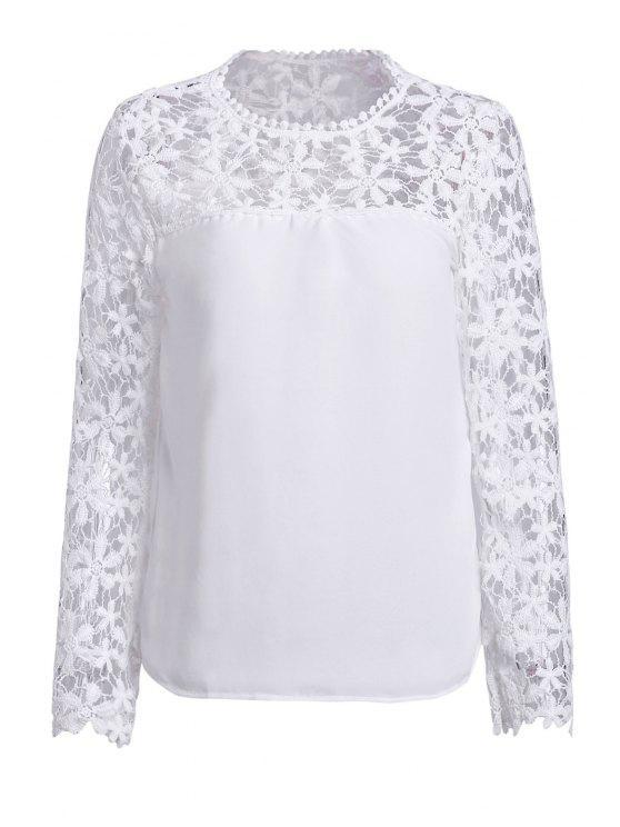 Blouse à manches longues avec empiècements floraux en crochet - Blanc L