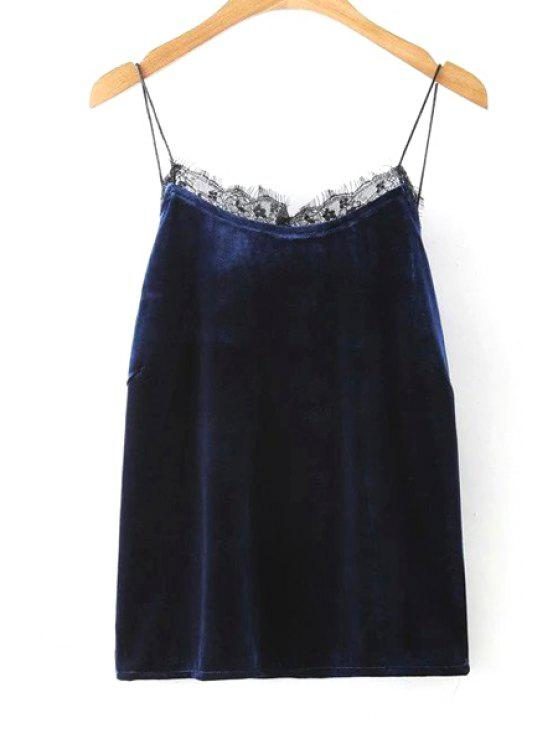 Frontera espagueti del color sólido del cordón de correas sin mangas - Azul Purpúreo L