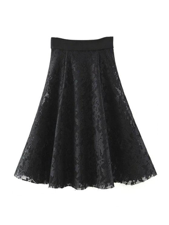 ladies Solid Color High Waist A-Line Floral Lace Skirt - BLACK M