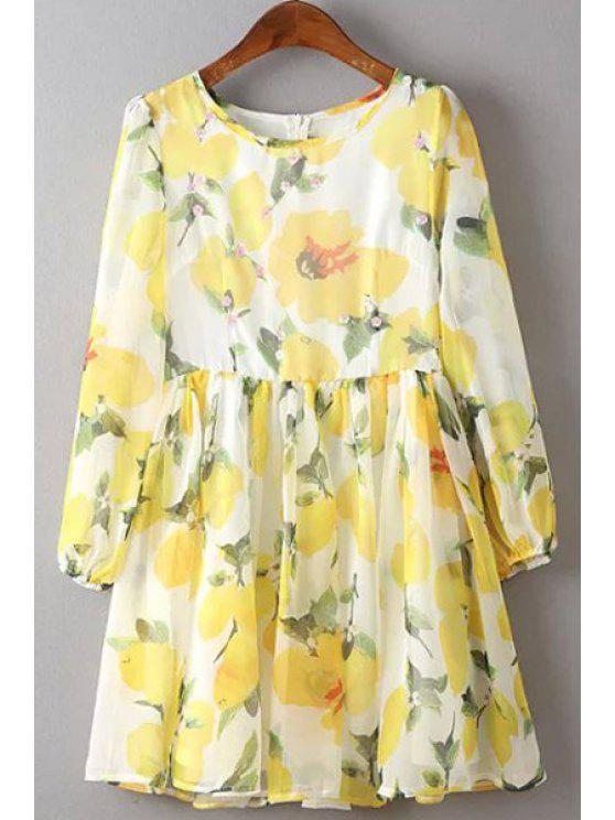 best Flower Print Round Neck 3/4 Sleeve Dress - YELLOW L