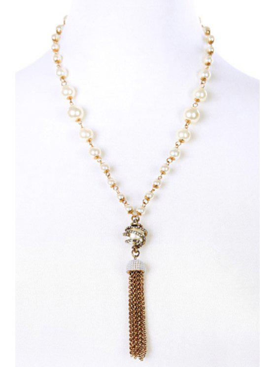 lady Vintage Alloy Rhinestone Link Chain Tassel Necklace - GOLDEN
