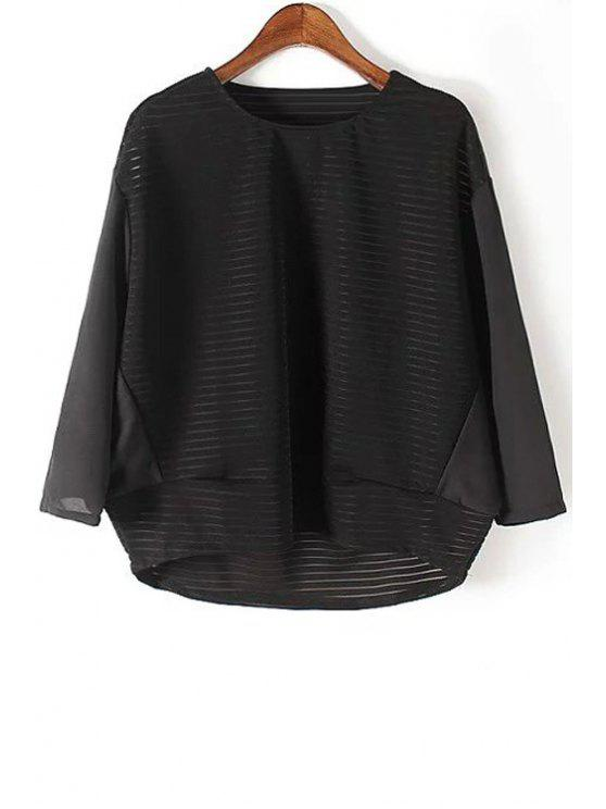 En vrac See Through Round Neck Bat-Wing manches Blouse - Noir L