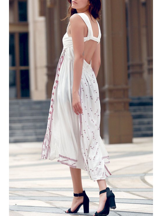 fashion Backless Straps Embroidery Side Slit Dress - WHITE L