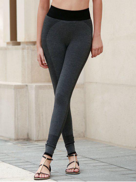 Leggings à taille élastique de yoga pour femmes - Gris Foncé L