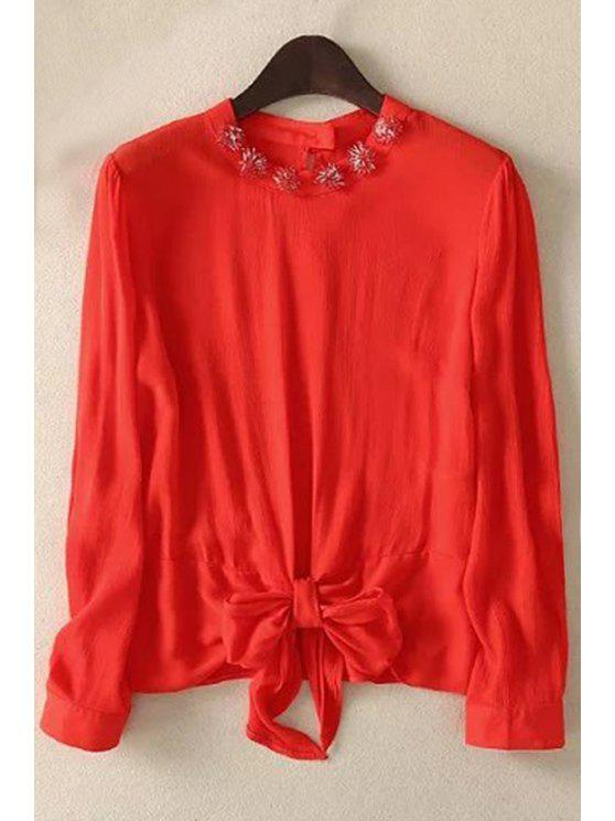 fashion Bowknot Solid Color Round Neck Long Sleeve Blouse - RED S