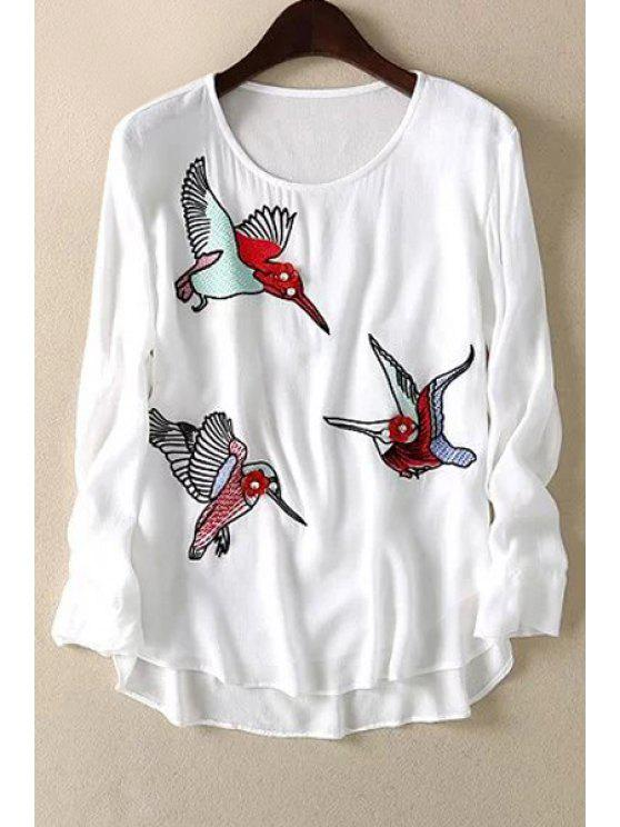 unique Loose Floral Bird Print Round Neck Long Sleeve T-Shirt - WHITE M