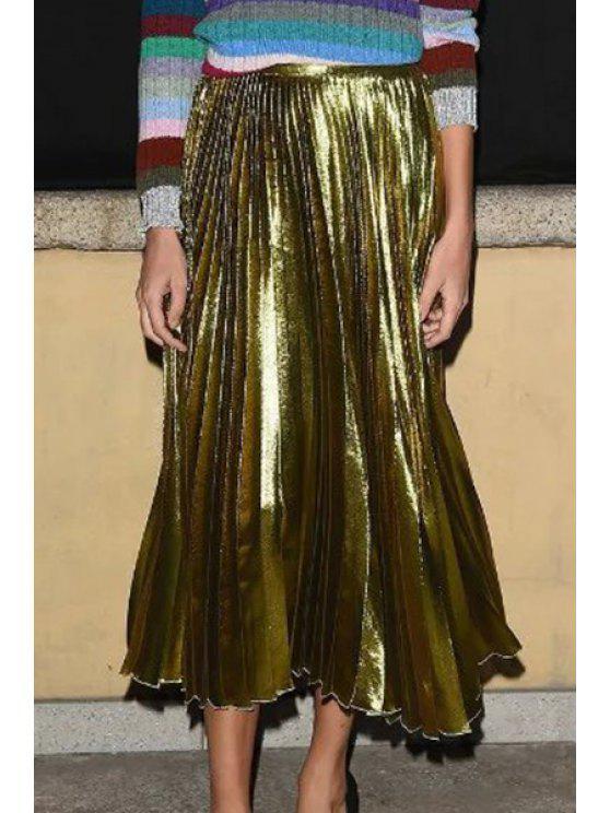 women Metal Ombre High Waist A-Line Pleated Skirt - GINGER L