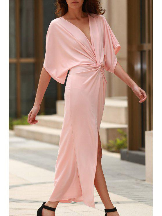 Light Pink Plongeant Neck manches demi Maxi Dress - Rose Clair M