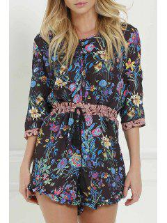 Full Floral Scoop Neck 3/4 Sleeve Romper - Black M