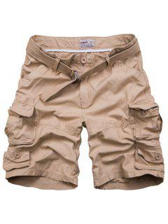 Zipper Fly Pockets Design Straight Leg Shorts For Men - Khaki 3xl