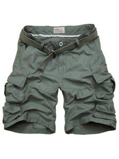 Zipper Fly Pockets Design Straight Leg Shorts For Men - Army Green Xl
