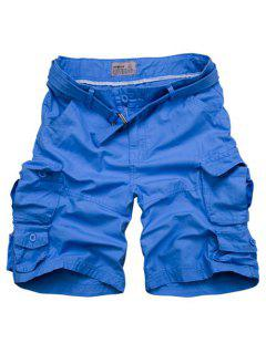 Zipper Fly Pockets Design Straight Leg Shorts For Men - Azure M