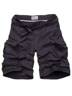 Zipper Fly Pockets Design Straight Leg Shorts For Men - Black Grey L