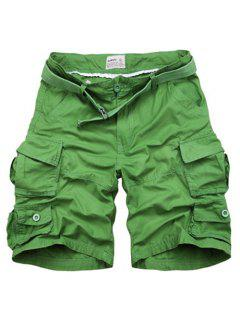 Zipper Fly Pockets Design Straight Leg Shorts For Men - Grass Green 2xl