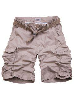 Zipper Fly Pockets Design Straight Leg Shorts For Men - Nude M