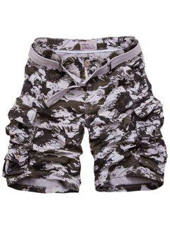Zipper Fly Camouflage Pockets Design Straight Leg Shorts For Men - Marine Camouflage 2xl