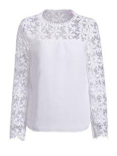 Crochet Flower Spliced Long Sleeve Blouse - White 3xl