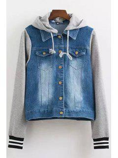 Casual Hooded Denim Splicing Long Sleeve Coat - Gray S