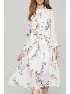 Blanco Tirantes Delgados Y De La Impresión Floral Turn-Down Cuello Manga Larga Twinset - Blanco L