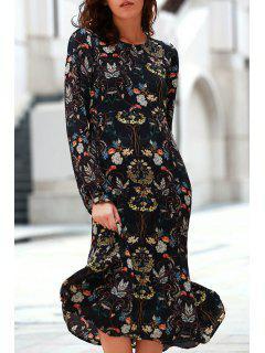 Printed Round Collar Long Sleeve Chiffon Dress - L