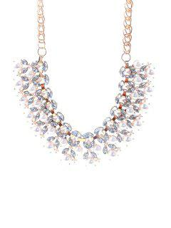 Faux Pearl Decorated Leaf Necklace - Golden