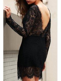 Slash Neck Openwork Lace Hook Sheath Dress - Black Xl