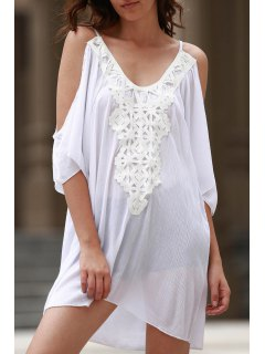 Cold Shoulder Lacework Splicing 3/4 Sleeve Dress - White Xl