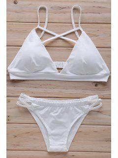 Solid Color Kreuz Halter-Bikini-Set - Weiß L