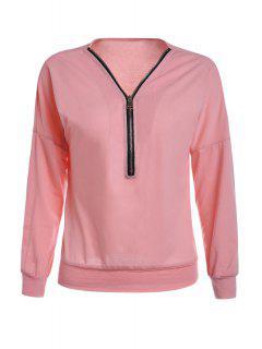 Long Sleeve Zippered T-Shirt - Pink L