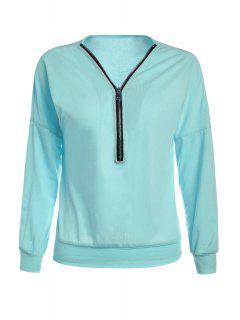 Long Sleeve Zippered T-Shirt - Blue M