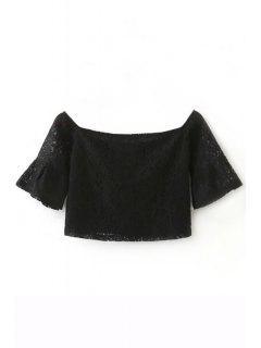 Off The Shoulder Lace Manches Demi Crop Top - Noir L