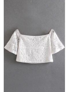 Off The Shoulder Lace Manches Demi Crop Top - Blanc L