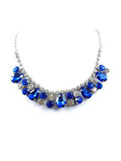 Charming Faux Crystal Water Drop Necklace - Blue