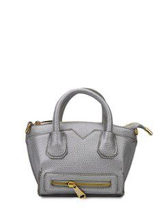 Solid Color Stitching Zip Tote Bag - Silver