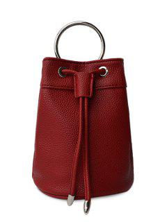 Metal Ring String Solid Color Tote Bag - Red