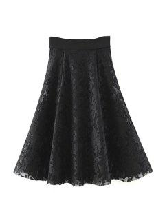 Solid Color High Waist A-Line Floral Lace Skirt - Black M