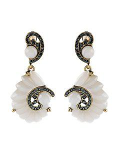 Rhinestone Faux Gemstone Clip Earrings - White