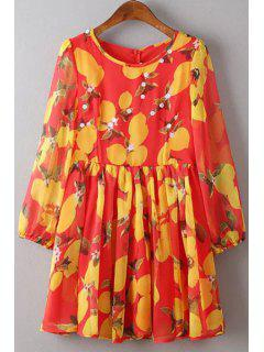 Robe Florale Col Rond à Manches 3/4 - Rouge S