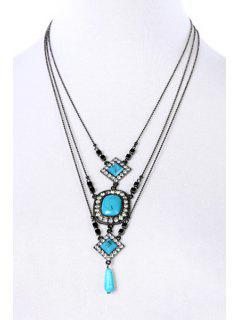 Rhinestone Turquoise Multilayered Necklace - Black