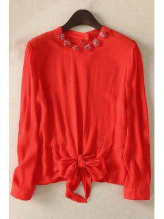 Bowknot Solid Color Round Neck Long Sleeve Blouse - Red L