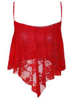 Lace Spliced Cami Cropped Tank Top - Red Xl