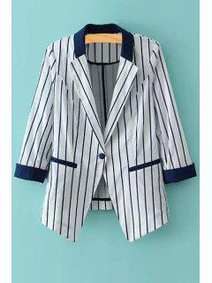 3/4 Sleeve Vertical Stripes Blazer - Blue And White L