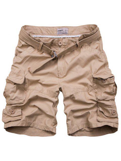 Reißverschluss Taschen Design Gerade Bein Shorts für Männer - Khaki 3XL Mobile