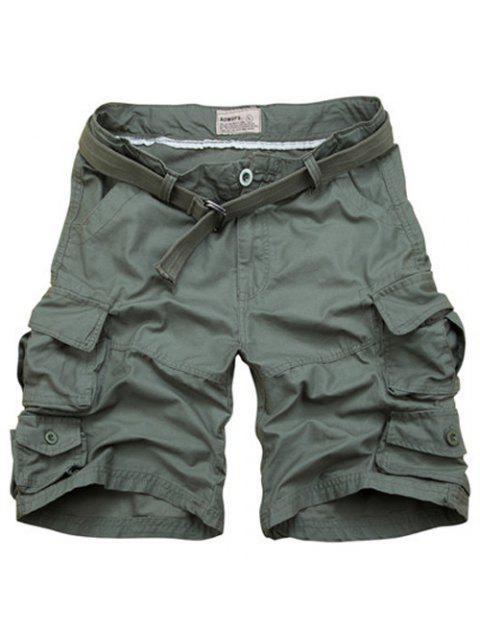 Zipper Fly poches design droites Shorts de jambe pour les hommes - Vert Armée XL Mobile
