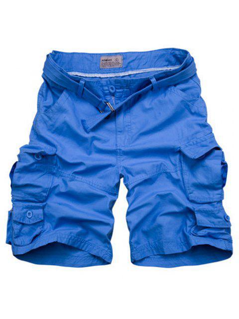 Zipper Fly poches design droites Shorts de jambe pour les hommes - Azur M Mobile