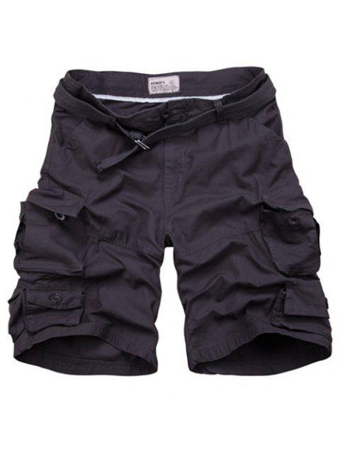 fancy Zipper Fly Pockets Design Straight Leg Shorts For Men - BLACK GREY L Mobile
